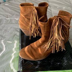 Suede Leather Sam Edelman bootie cowboy fringe